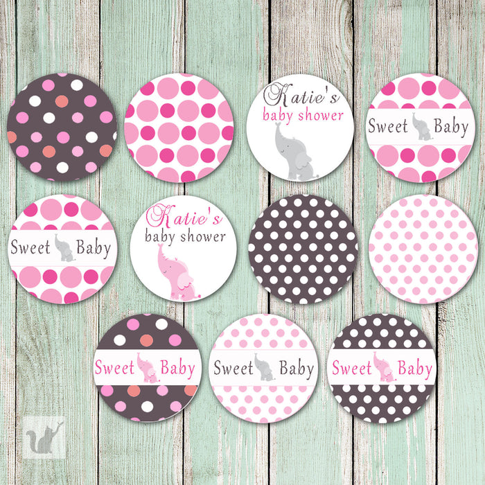 Elephant Small Candy Label Sticker Pink Baby Shower