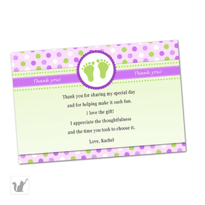 Purple Green Polka Dots Baby Girl Shower Thank You Card Note