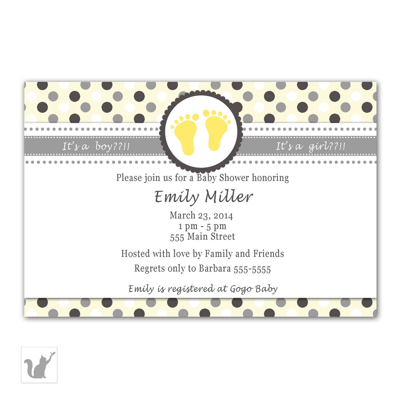 Grey Yellow Feet Baby Shower Invitation Unisex Pink The Cat