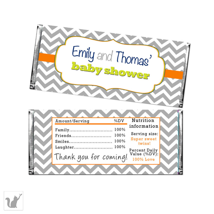 Grey Orange Baby Shower Candy Bar Wrappers Label