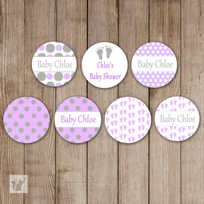 Purple Small Candy Labels Feet Baby Shower Sticker