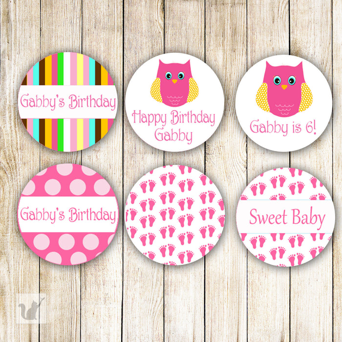 Pink Owl Baby Shower Birthday Small Candy Label Sticker
