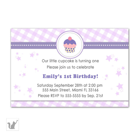 cupcake birthday invitation girl purple gingham