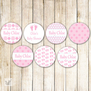 Pink Baby Girl Shower Small Candy Label Sticker