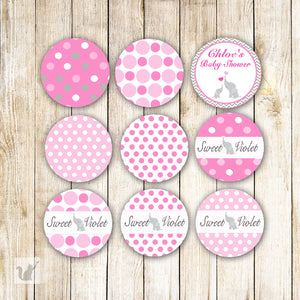 Pink Elephant Small Candy Labels Sticker Baby Shower