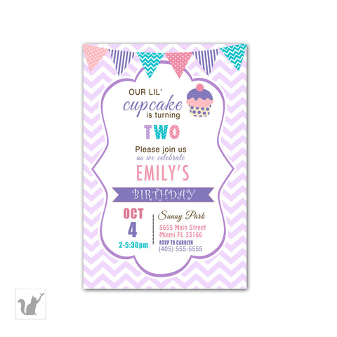 cupcake birthday invitation girl