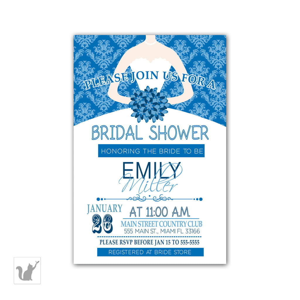 dress blue damask invitation bridal shower