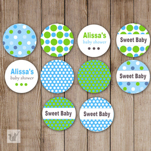 Blue Green Small Candy Label Sticker Baby Shower