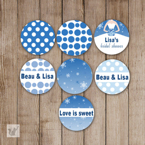 Bridal Shower Small Candy Label Sticker Blue Dress