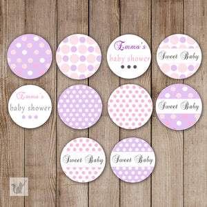Purple Small Candy Label Sticker Baby Shower