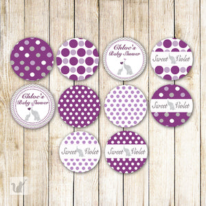 Elephant Purple Small Candy Label Sticker Baby Shower