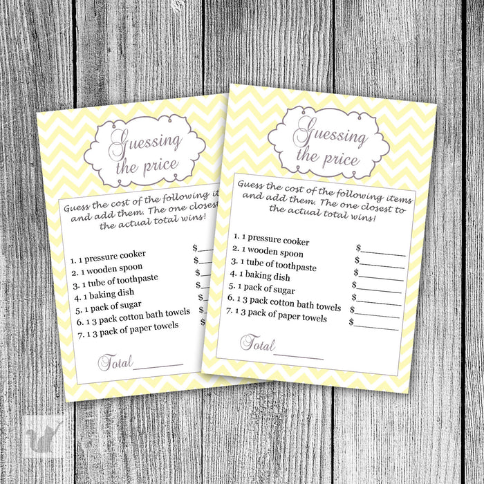 Yellow Chevron Guess The Price Bridal Shower Game
