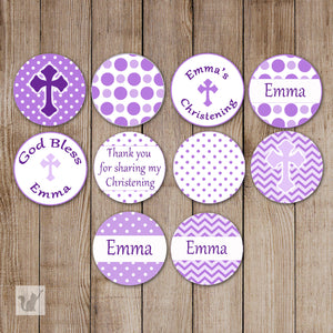 Purple Baptism Christening Small Candy Label Sticker