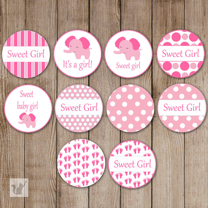 Elephant Candy Stickers Baby Girl Shower Pink