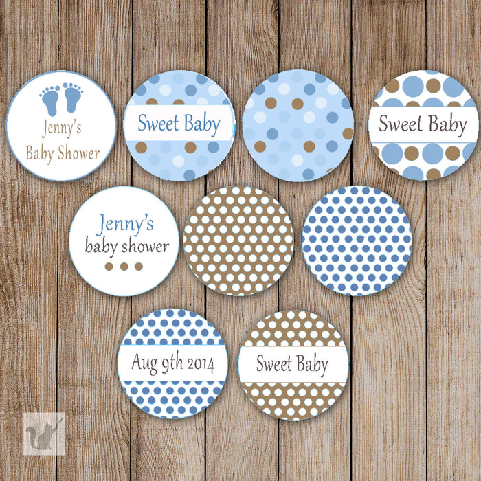 Blue Brown Feet Baby Shower Small Candy Label Sticker