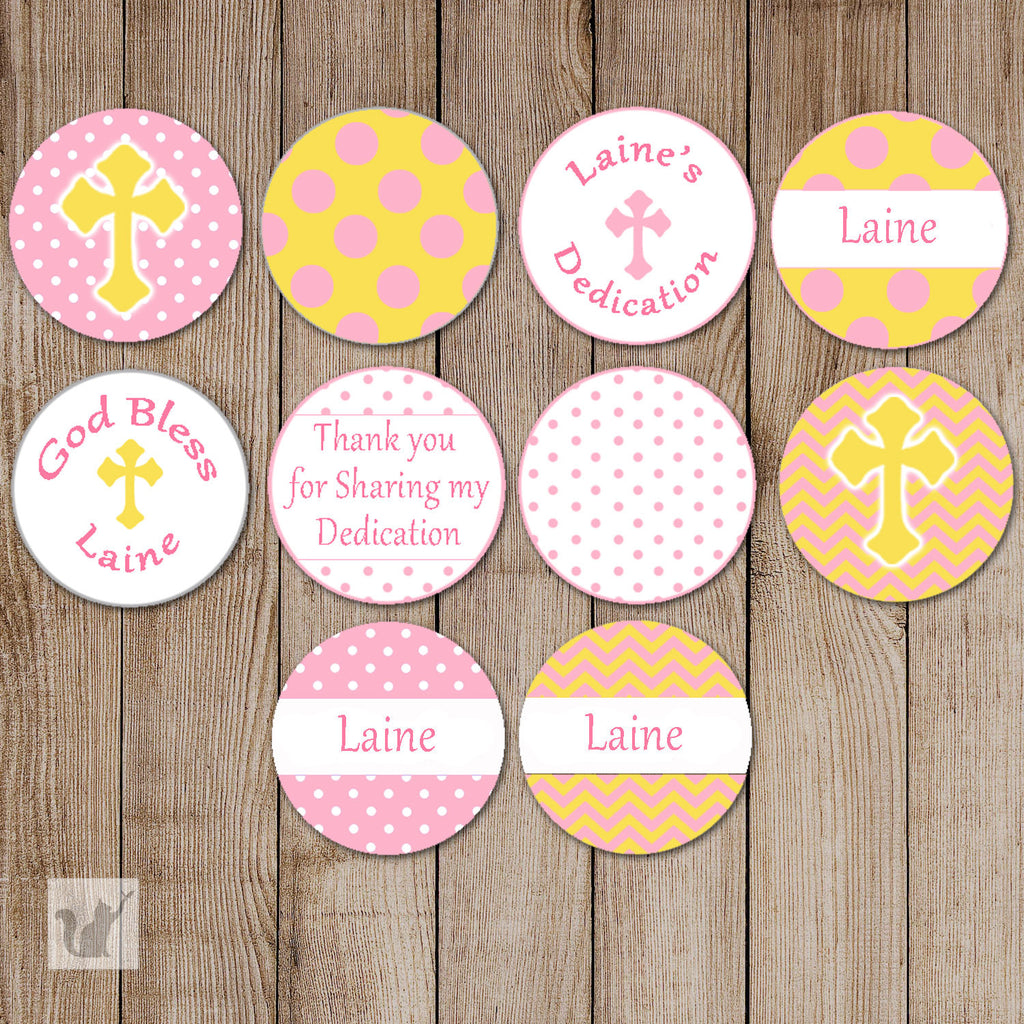Baptism Christening Yellow Pink Small Candy Label Sticker