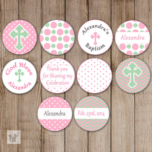 Pink Mint Small Candy Label Sticker Baptism Christening