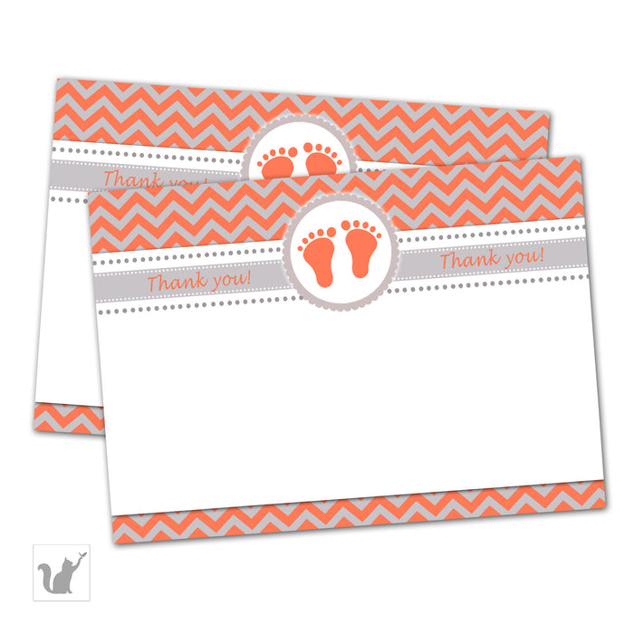 Orange Grey Baby Feet Baby Shower Blank Thank You Cards Note - Zig Zag Baby Shower Party Thank You Card Baby Boy Girl Party INSTANT DOWNLOAD