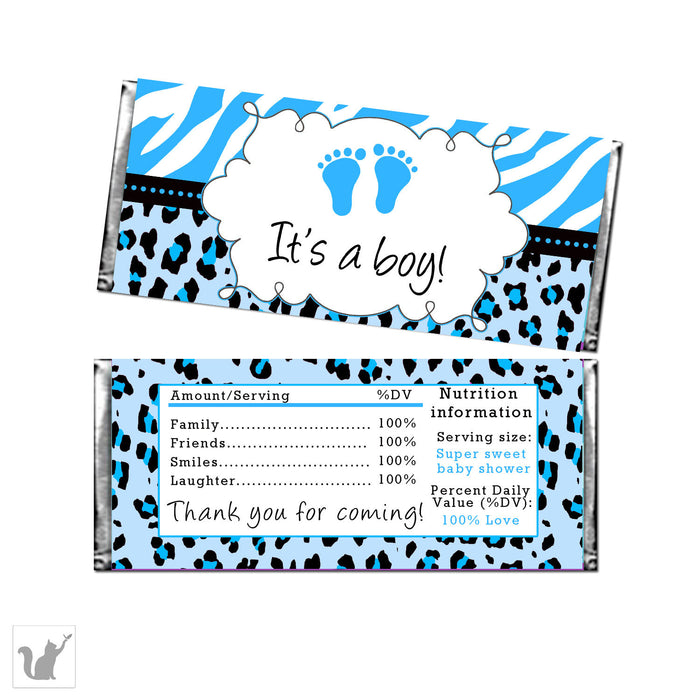 Blue Zebra Leopard Baby Boy Shower Candy Bar Label Wrapper