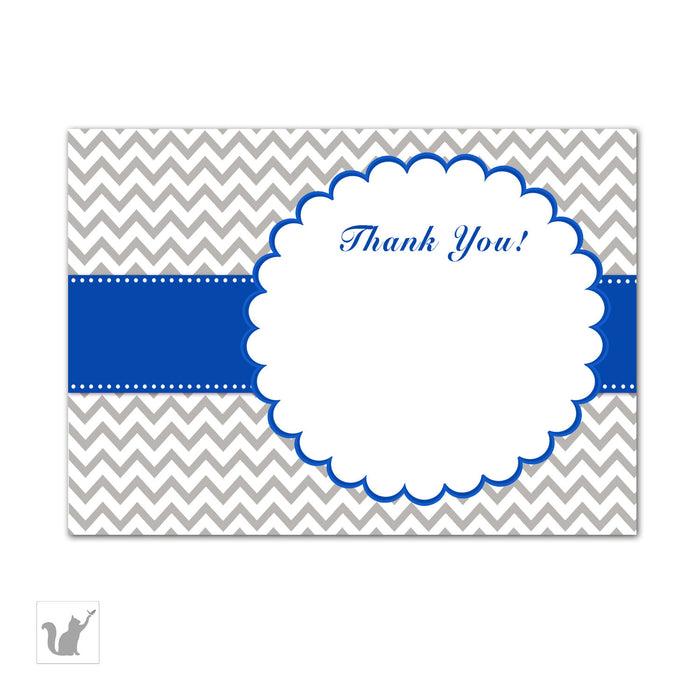 Blue Grey Chevron Thank You Card Note Birthday Baby Bridal Shower
