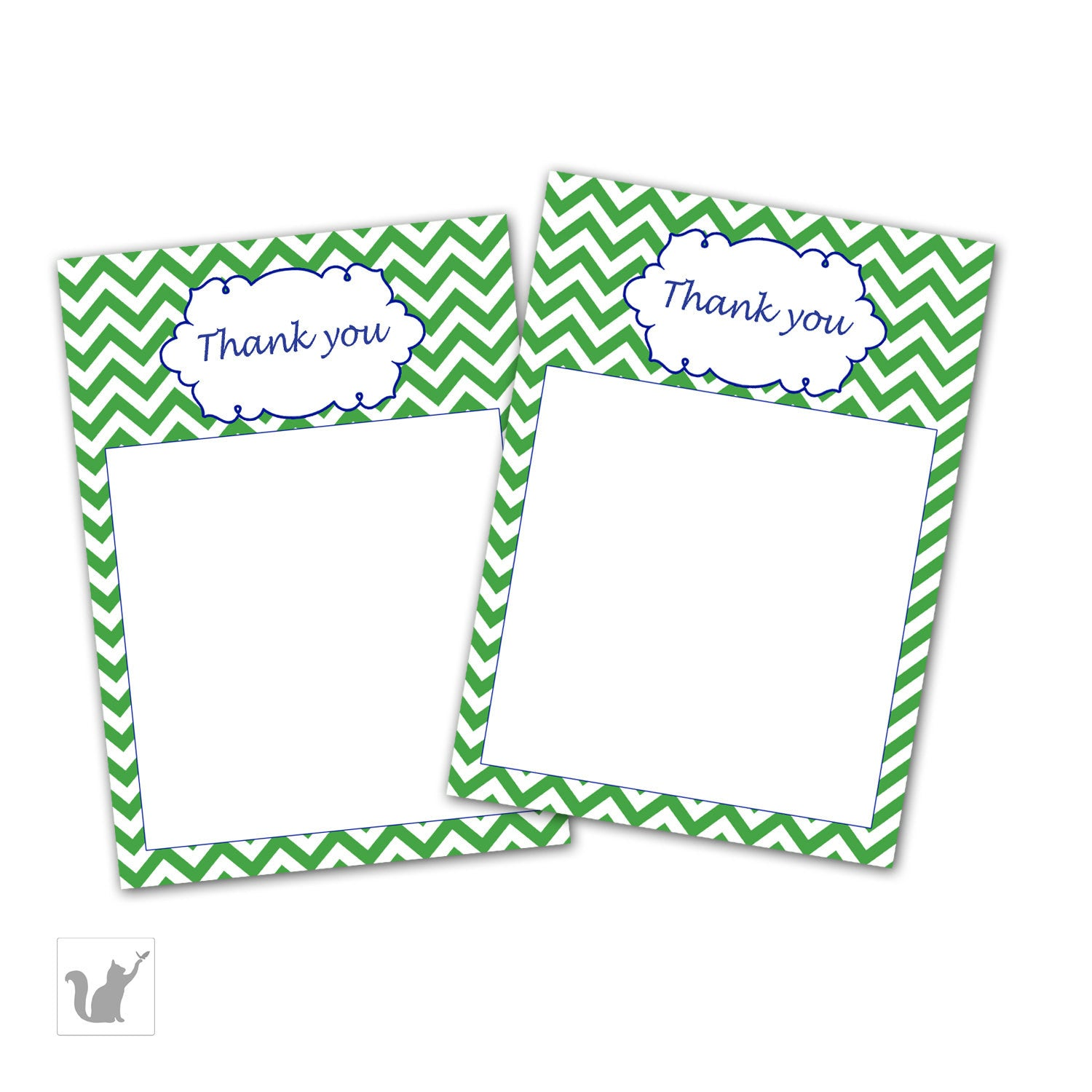 green chevron party thank you card zig zag birthday blank thank you card baby shower card note diy party item instant download - Baby Shower Card Note