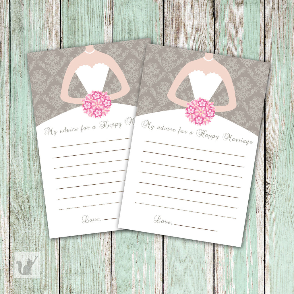 Grey Pink Damask Bridal Shower Advice Cards