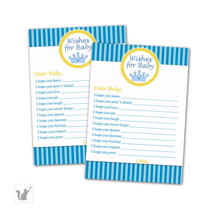 Wishes for Baby Card Prince Stripes
