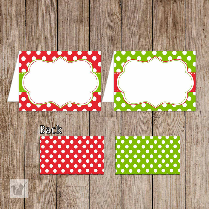 Printable Merry Christmas Folded Tent Card - Polka Dots Green Red Merry Xmas Gift Favor Printable New Year Decoration Editable File ID