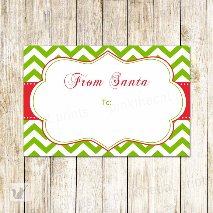 Printable Christmas Gift Label Holiday Favor Tags Red Green Gift Decoration Green Red Chevron From Santa Claus to INSTANT DOWNLOAD