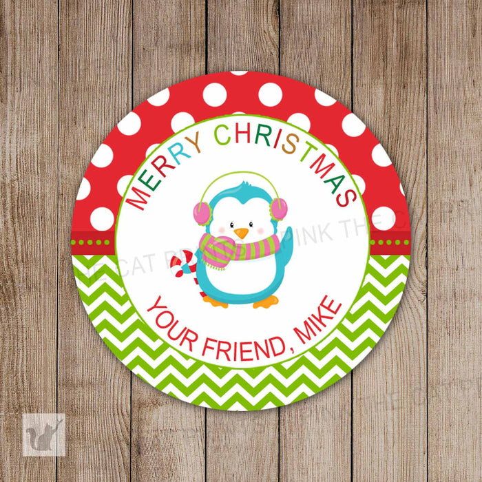 Printable Personalized Christimas Penguin Holiday Xmas Winter Labels Red Green Polka Dots Custom Gift Tags Favor Labels Decoration