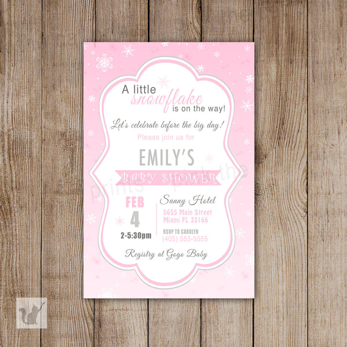 Snowflake Baby Girl Shower Invitation Winter Wonderland