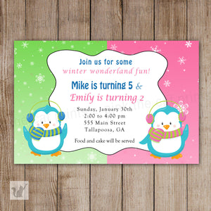 twins penguin birthday invitation winter