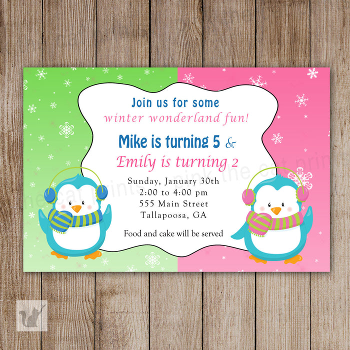 Penguin Invitation Kids Birthday Joint Party Girl Boy Twins