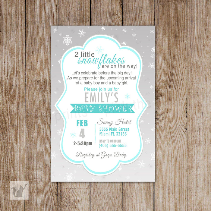 Twins Snowflake Invitation Baby Shower Teal Grey