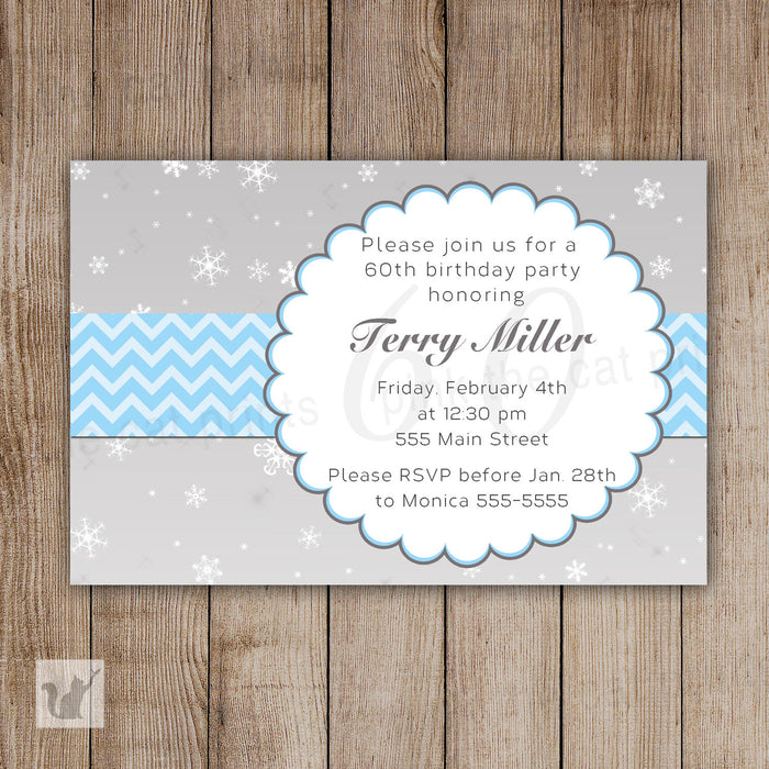 Snowflake Invitation Adult Birthday Party Blue Silver