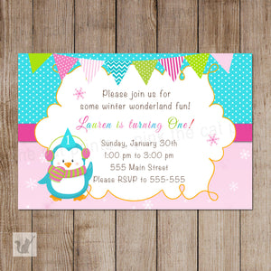 penguin birthday invitation pink turquoise