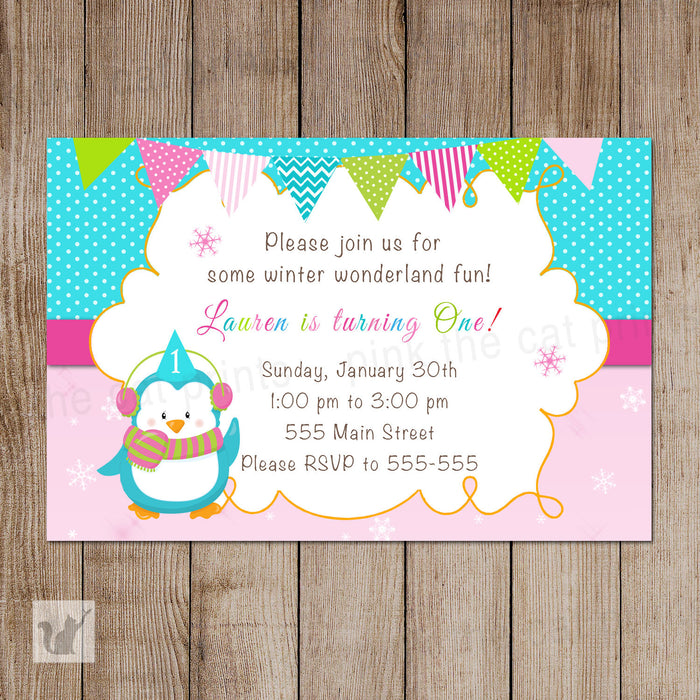 Penguin Invitation Girl Birthday Party Winter Pink