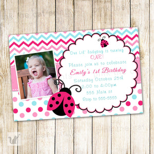 Ladybug Invitation Girl Birthday Pink Turquoise Photo