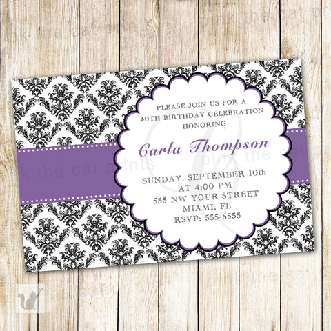 Adult Birthday Invitation Purple Black Damask