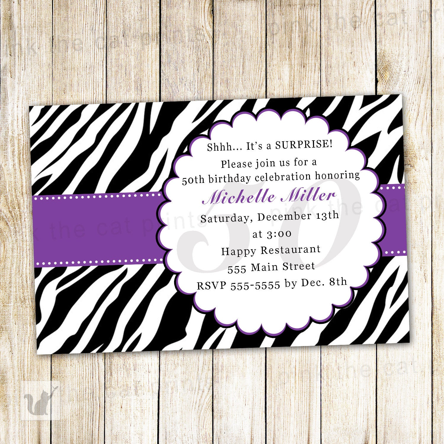 Zebra Invitation Black Purple Adult Surprise Birthday Party – Pink ...
