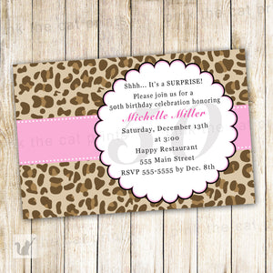 leopard invitation pink brown