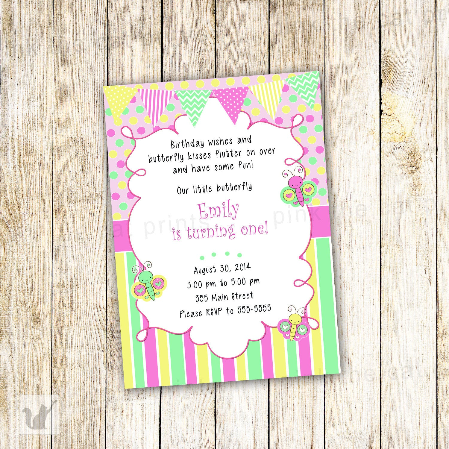Butterflies Invitation Girl Birthday Party Baby Shower – Pink The Cat