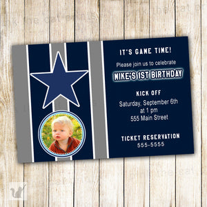 American Football Sports Boy Birthday Invitation Photo Card