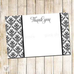 Printable Black White Damask Blank Thank You Card Note - Wedding Anniversary Birthday Adults Kids Bridal Baby Shower INSTANT DOWNLOAD