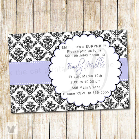 Adult Birthday Invitation Lavender Black Damask