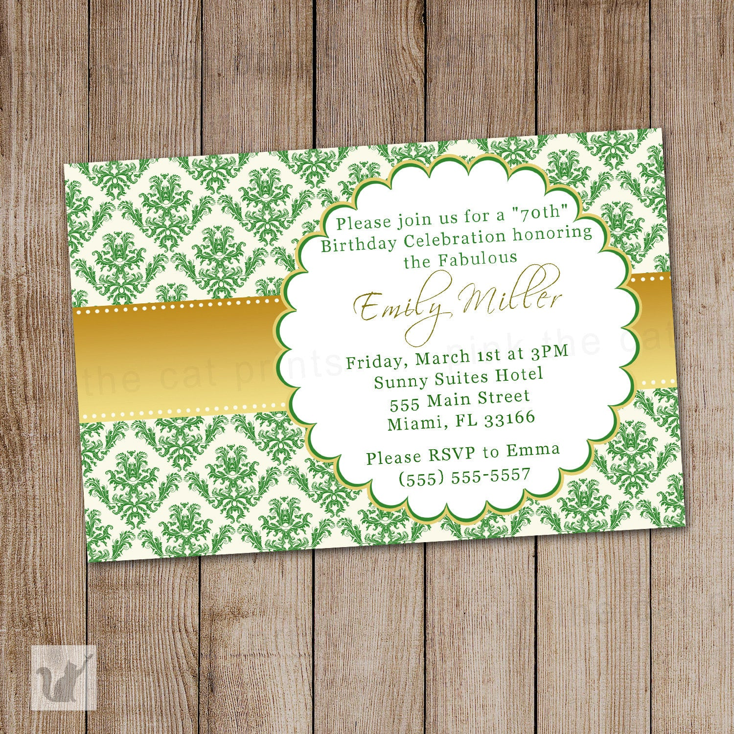 Damask Invitation – Damask Birthday Invitations