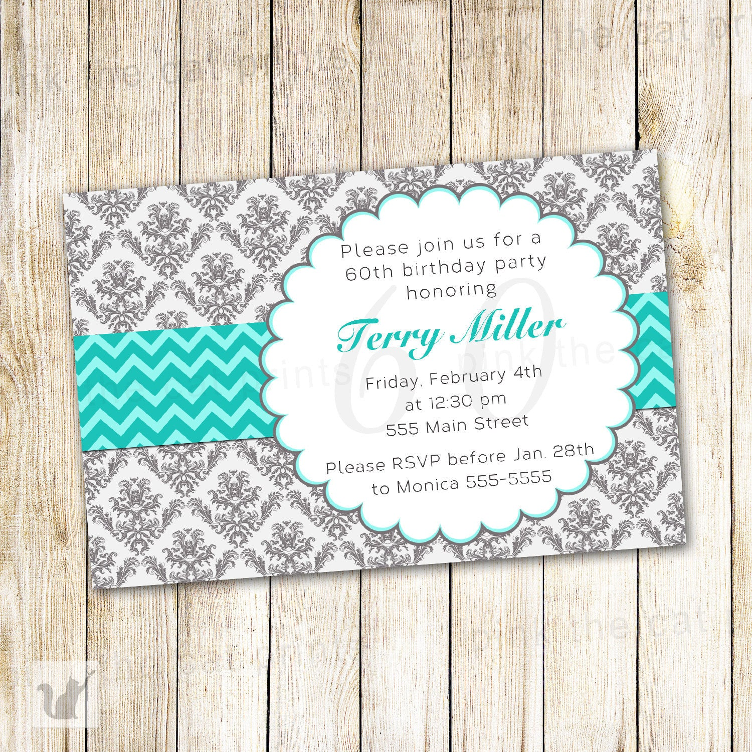 Grey Turquoise Invitation Adult Kids Birthday Silver Damask – Pink the Cat