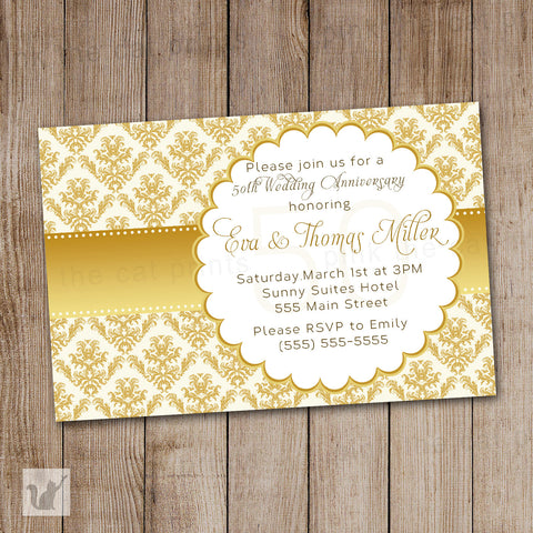 50th Golden Wedding Anniversary Invitation Card