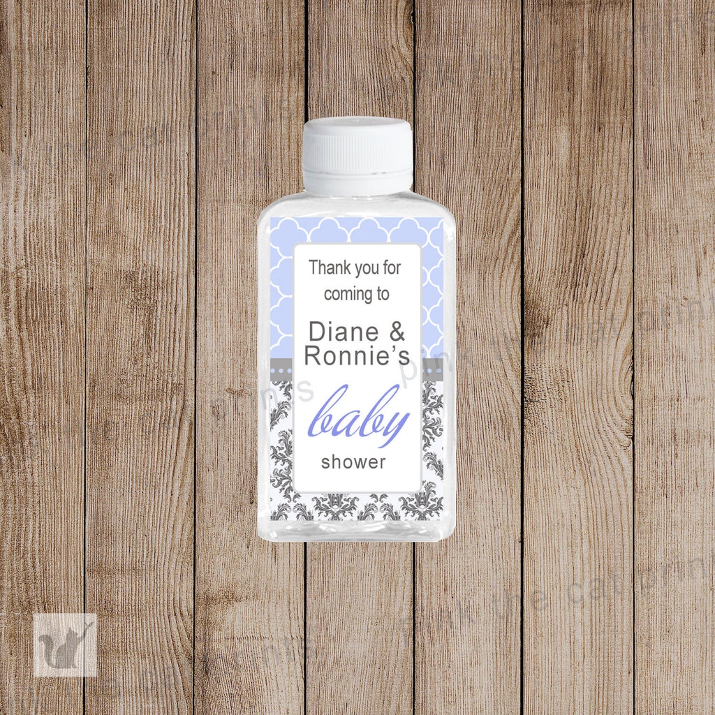 Baby Shower Hand Sanitizer Labels Lavender Purple Black