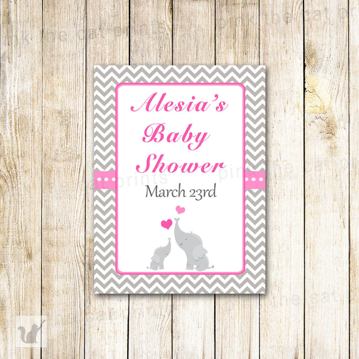 Pink Elephant Hand Sanitizer Gift Favor Label Baby Girl Shower